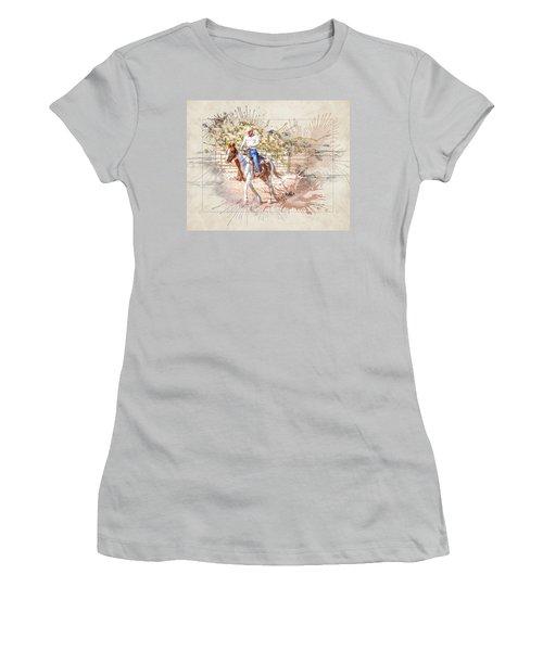 Ranch Rider Digital Art-b1 Women's T-Shirt (Athletic Fit)