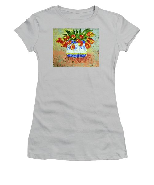 Red And Yellow Tulips Women's T-Shirt (Junior Cut) by Lynda Cookson