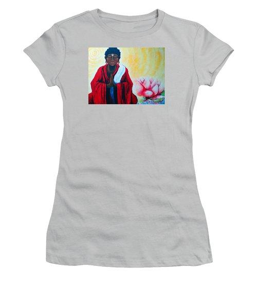 Red Buddha Lotus Women's T-Shirt (Junior Cut) by Jackie Carpenter