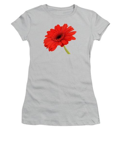 Women's T-Shirt (Junior Cut) featuring the photograph Red Gerbera Daisy 2 by Scott Carruthers