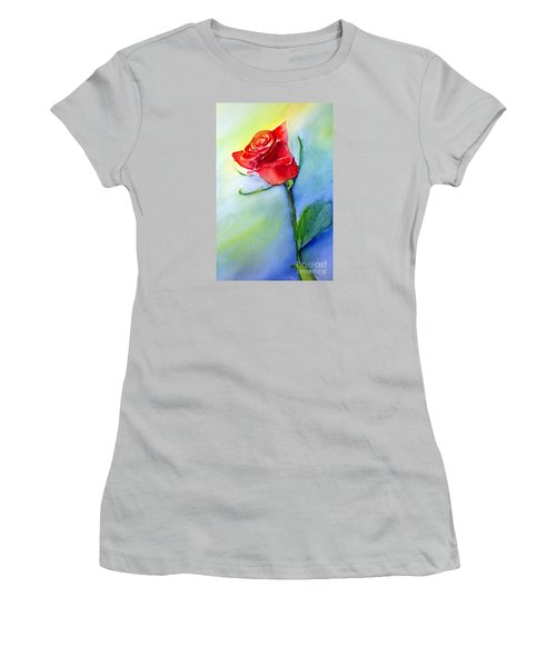 Red Rose Women's T-Shirt (Junior Cut) by Allison Ashton