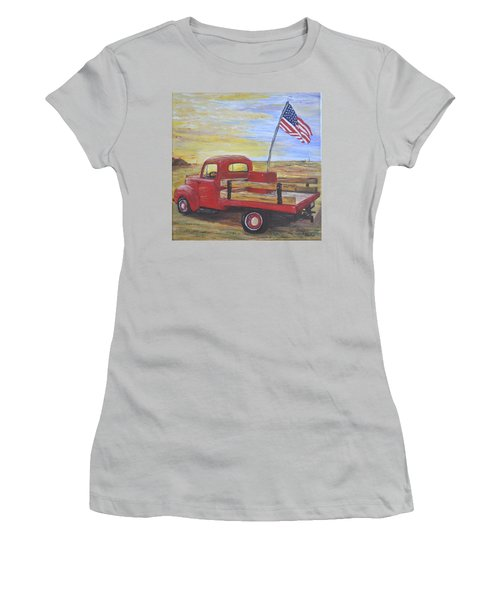 Women's T-Shirt (Junior Cut) featuring the painting Red Truck by Debbie Baker