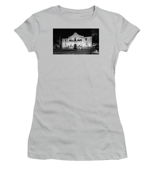 Remembering The Alamo - Black And White Women's T-Shirt (Junior Cut) by Stephen Stookey
