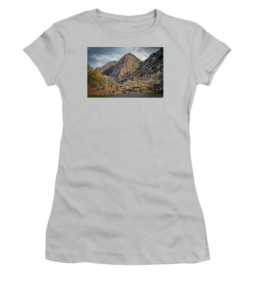 Women's T-Shirt (Junior Cut) featuring the photograph Rio Grande Racecourse In Winter by Atom Crawford