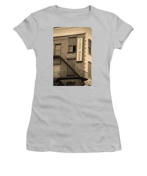 Women's T-Shirt (Junior Cut) featuring the photograph Rochester, New York - Jimmy Mac's Bar 2 Sepia by Frank Romeo