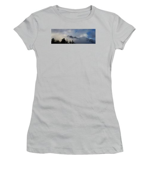 Rockies In The Clouds. Women's T-Shirt (Junior Cut) by Ellery Russell