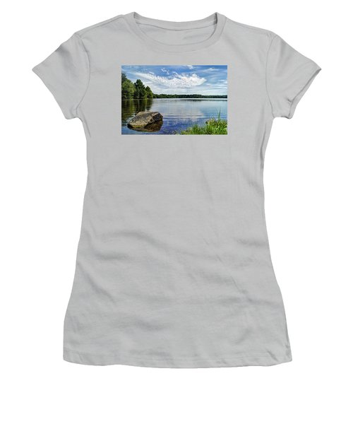 Rocky Fork Lake Women's T-Shirt (Junior Cut) by Cricket Hackmann