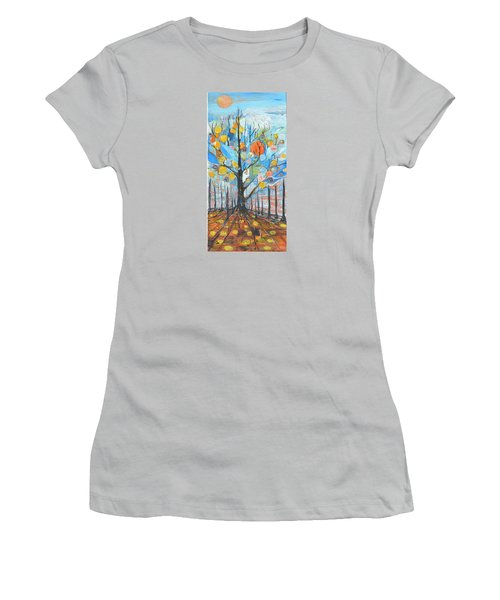 Women's T-Shirt (Junior Cut) featuring the painting Roots by Evelina Popilian
