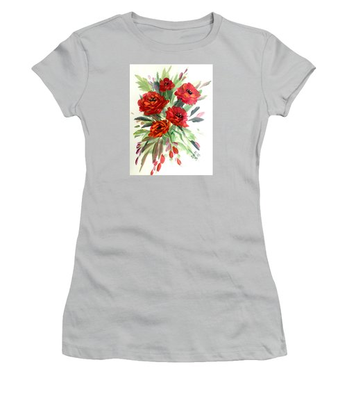 Women's T-Shirt (Junior Cut) featuring the painting Rose Love by Dorothy Maier