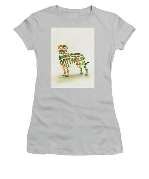 Women's T-Shirt (Athletic Fit) featuring the painting Rottweiler Dog Watercolor Painting / Typographic Art by Ayse and Deniz