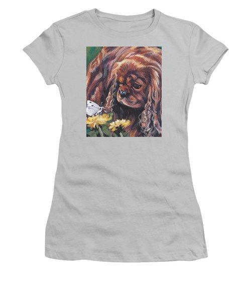 Women's T-Shirt (Junior Cut) featuring the painting Ruby Cavalier King Charles Spaniel by Lee Ann Shepard