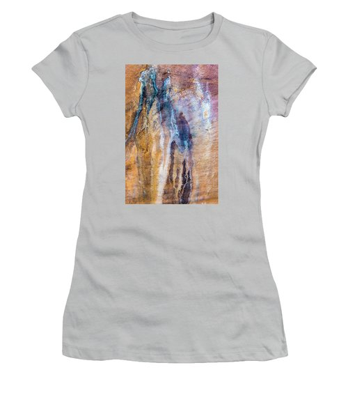 Women's T-Shirt (Athletic Fit) featuring the photograph Runoff Abstract, Bhimbetka, 2016 by Hitendra SINKAR