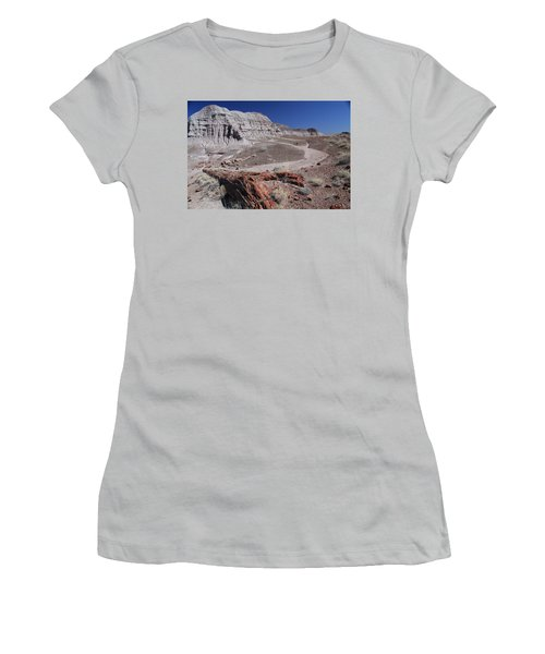 Women's T-Shirt (Junior Cut) featuring the photograph Runoff Obstacle by Gary Kaylor