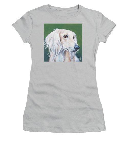 Women's T-Shirt (Junior Cut) featuring the painting Saluki Sighthound by Lee Ann Shepard