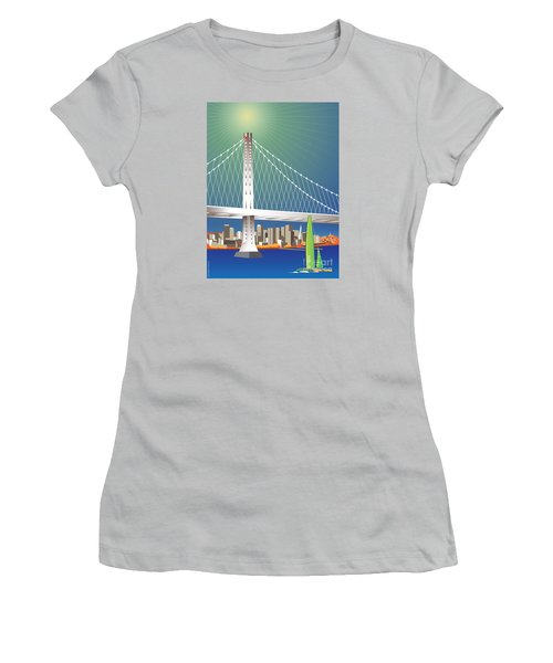 San Francisco New Oakland Bay Bridge Cityscape Women's T-Shirt (Athletic Fit)