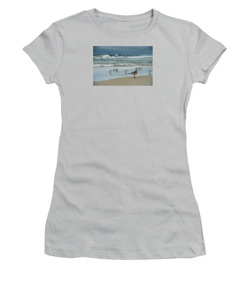 Women's T-Shirt (Junior Cut) featuring the photograph Sandpiper Beach by Renee Hardison