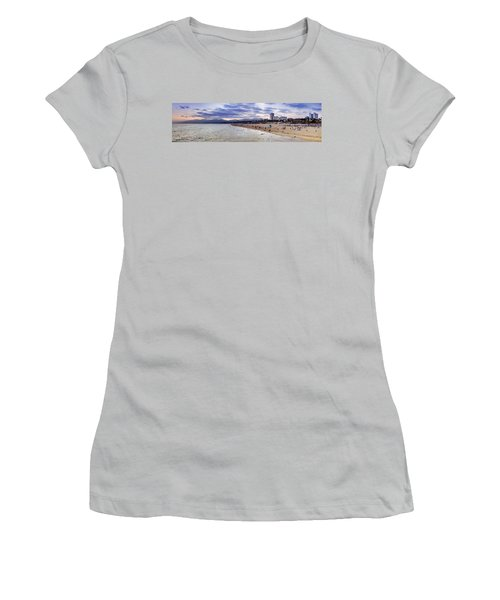 Santa Monica Sunset Panorama Women's T-Shirt (Athletic Fit)