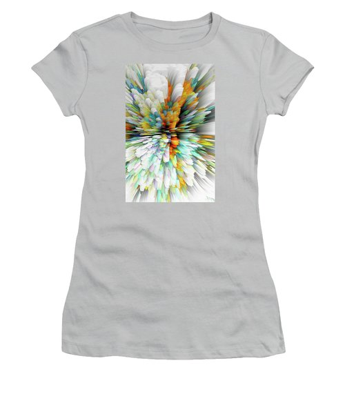 Women's T-Shirt (Athletic Fit) featuring the digital art Sculptural Series Painting23.102011windblastsccvsext4100l by Kris Haas