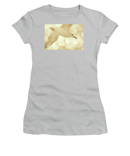 Women's T-Shirt (Junior Cut) featuring the photograph Sea Gull On Neutral Bokeh Background by Peggy Collins