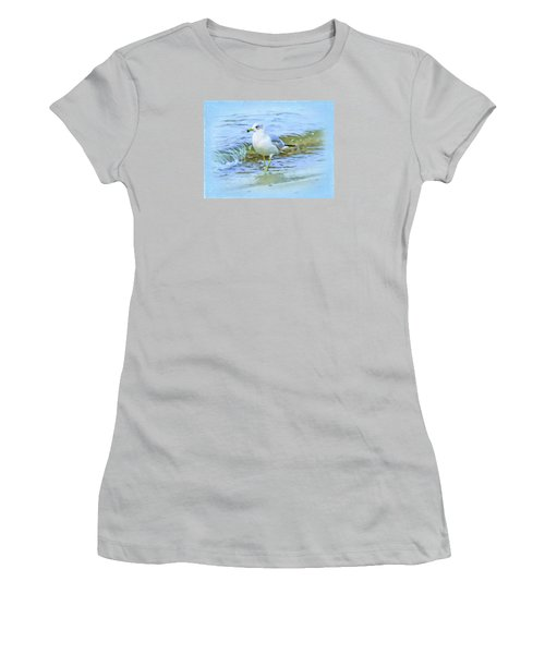 Women's T-Shirt (Junior Cut) featuring the digital art Seagull by Nina Bradica