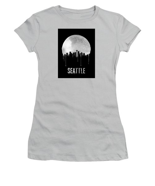 Seattle Skyline Black Women's T-Shirt (Junior Cut) by Naxart Studio