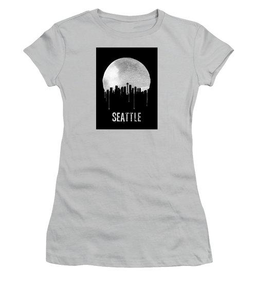 Seattle Skyline Black Women's T-Shirt (Athletic Fit)