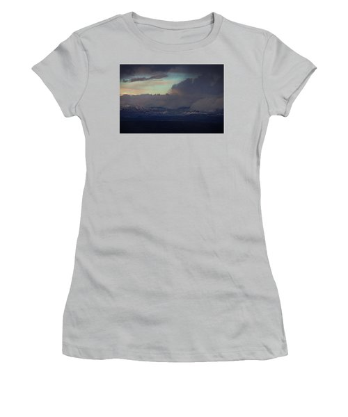 Sedona At Sunset With Red Rock Snow Women's T-Shirt (Junior Cut) by Ron Chilston