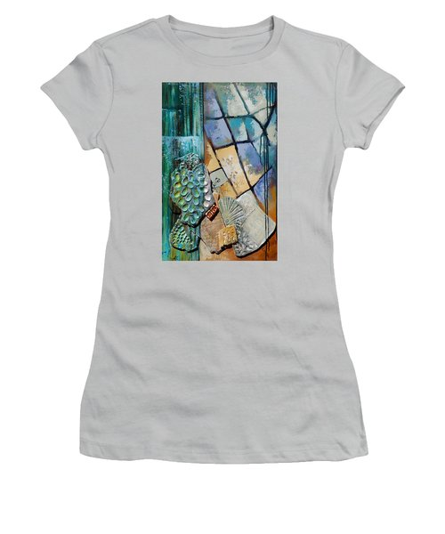 Shards Water Clay And Fire Women's T-Shirt (Junior Cut) by Suzanne McKee