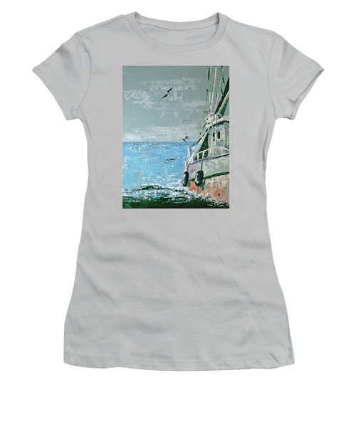 Shrimp Boat In The Gulf Women's T-Shirt (Junior Cut) by Suzanne McKee