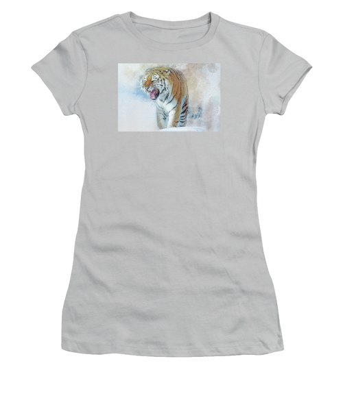 Siberian Tiger In Snow Women's T-Shirt (Junior Cut) by Brian Tarr