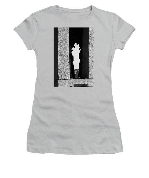 Women's T-Shirt (Junior Cut) featuring the photograph Silhouette Of Pillars, Hampi, 2017 by Hitendra SINKAR