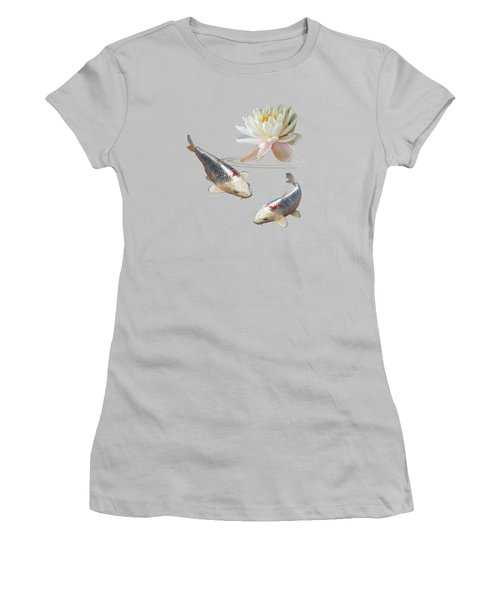 Silver And Red Koi With Water Lily Women's T-Shirt (Junior Cut)