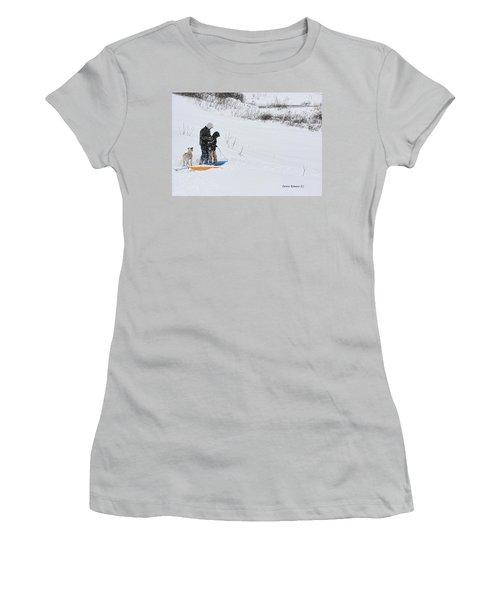 Sledding Women's T-Shirt (Junior Cut) by Denise Romano