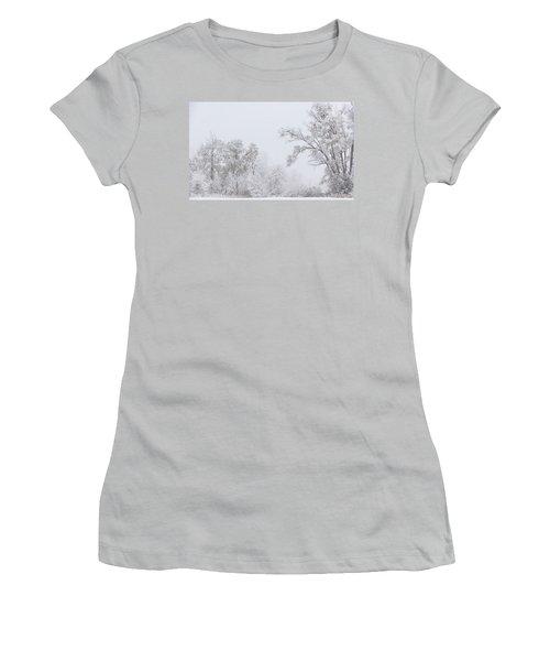 Snowing In A Starbucks Parking Lot Women's T-Shirt (Junior Cut) by Joni Eskridge