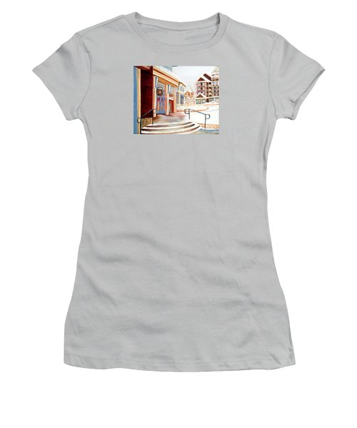 Snowshoe Village Shops Women's T-Shirt (Junior Cut) by Shelia Kempf