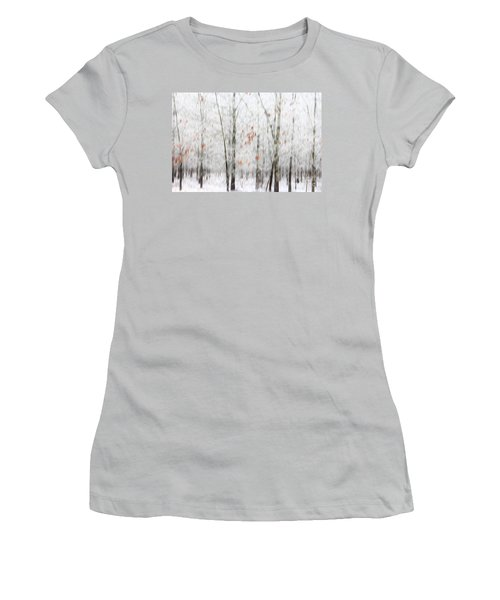 Women's T-Shirt (Junior Cut) featuring the photograph Snowy Trees Abstract by Benanne Stiens
