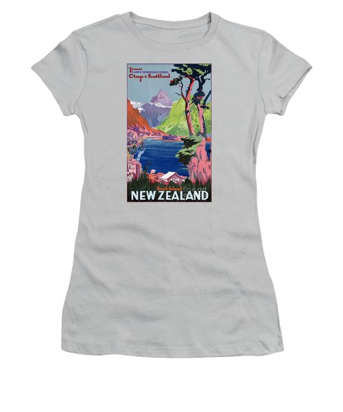 South Island New Zealand Vintage Poster Restored Women's T-Shirt (Athletic Fit)