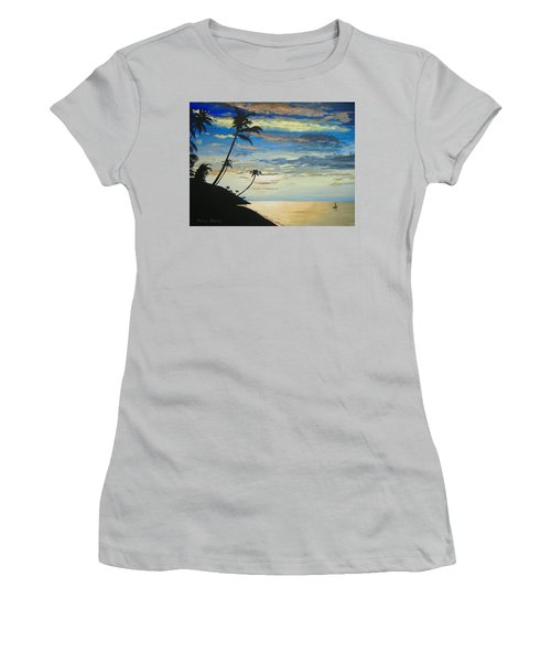 Women's T-Shirt (Junior Cut) featuring the painting South Sea Sunset by Norm Starks