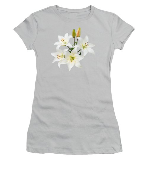 Spray Of White Lilies Women's T-Shirt (Junior Cut) by Jane McIlroy