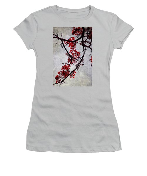 Spring Bloosom In Maldives. Flamboyant Tree II. Japanese Style Women's T-Shirt (Junior Cut) by Jenny Rainbow