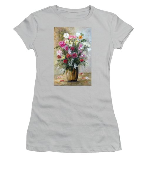 Women's T-Shirt (Junior Cut) featuring the painting Spring Flowers by Renate Voigt