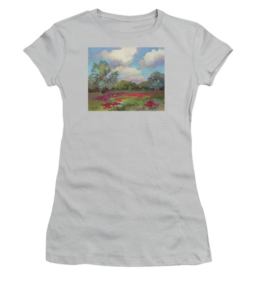 Women's T-Shirt (Junior Cut) featuring the painting Spring Poppies by Diane McClary
