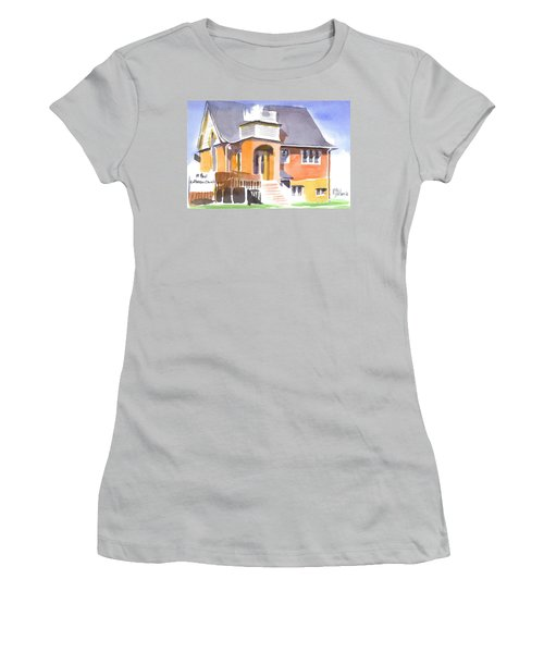 Women's T-Shirt (Junior Cut) featuring the painting St Paul Lutheran In Watercolor 2 by Kip DeVore