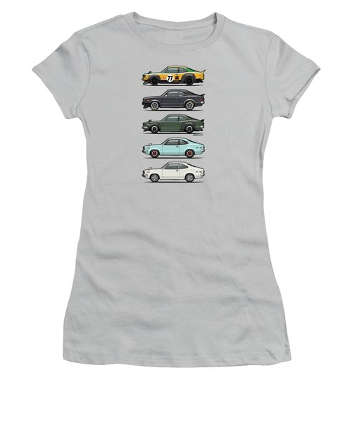 Stack Of Mazda Savanna Gt Rx-3 Coupes Women's T-Shirt (Junior Cut) by Monkey Crisis On Mars