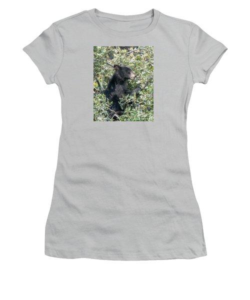 Startled Black Bear Cub Women's T-Shirt (Junior Cut) by Stephen  Johnson