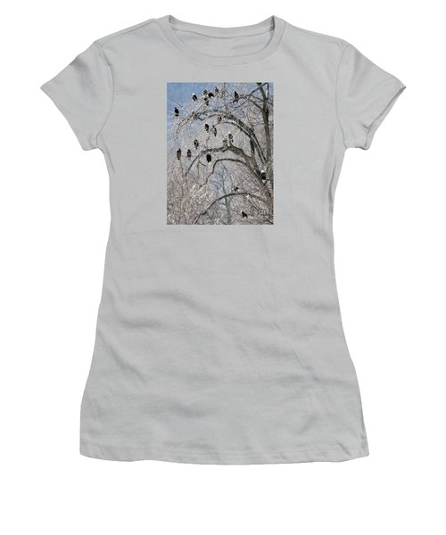 Women's T-Shirt (Junior Cut) featuring the photograph Starved Rock Eagles by Paula Guttilla