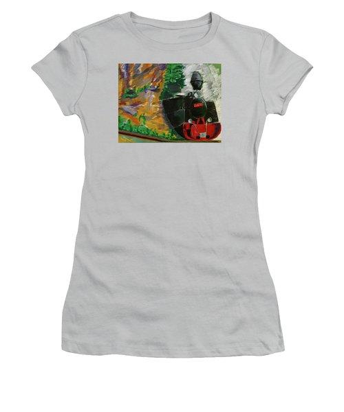 Steam Train Women's T-Shirt (Junior Cut) by Manuela Constantin