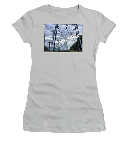 Women's T-Shirt (Junior Cut) featuring the photograph Steel Soldiers Marching To The Sea by Brian Wallace