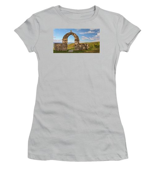 Stone Church In Autumn Women's T-Shirt (Athletic Fit)