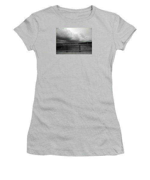 Women's T-Shirt (Junior Cut) featuring the photograph Storm Clouds On The Hudson by Bruce Carpenter